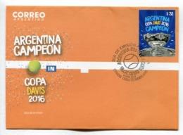 ARGENTINA CAMPEÓN EN COPA DAVIS 2016. TENIS TENNIS - ARGENTINA 2017 FDC SOBRE DIA DE EMISION -LILHU - FDC