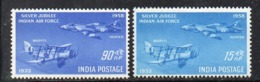 Y1505 - INDIA 1958 , Posta Aerea Yvert Serie N. 7/8 ***  MNH (2380A) - Posta Aerea