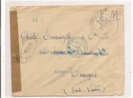 FRANCE 1945  ENVELOPPE F.M. POUR LIMOGES CONTRÔLÉE PAR LES AUTORITÉS MILITAIRES - Marcophilie (Lettres)