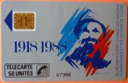 TELECARTE - 1918 1988 SECRETARIAT D' ETAT CHARGE DES ANCIENS COMBATANTS 50U - 2 SCANS - 50 Unités