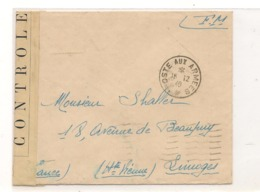 FRANCE 1940  ENVELOPPE F.M. POUR LIMOGES CONTRÔLÉE PAR LES AUTORITÉS MILITAIRES - Marcophilie (Lettres)