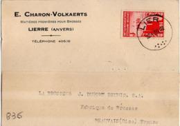 B36 Belgique Lettre De E. Charon-Volkaerts Du 12-04-1935 Avec Flamme, Cachet Poste. Postée à Lierre - Flammes