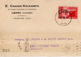 B37 Belgique Lettre De E. Charon-Volkaerts Du 08-05-1935 Avec Flamme, Cachet Poste. Postée à Lierre - Flammes