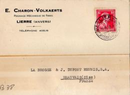 B38 Belgique Lettre De E. Charon-Volkaerts Du 06-08-1938 Avec Flamme, Cachet Poste. Postée à Lierre - Flammes