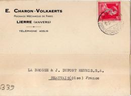 B39 Belgique Lettre De E. Charon-Volkaerts Du 12-08-1938 Avec Flamme, Cachet Poste. Postée à Lierre - Flammes