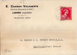 B40 Belgique Lettre De E. Charon-Volkaerts Du 11-08-1938 Avec Flamme, Cachet Poste. Postée à Lierre - Flammes