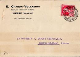 B41 Belgique Lettre De E. Charon-Volkaerts Du 13-05-1937 Avec Flamme, Cachet Poste. Postée à Lierre - Flammes