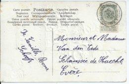 Fantasiekaart  Met OCB 81  - Afstempeling ST.STEVENS-WOLUWE Type 3R - COBA 60 - 1893-1907 Wappen