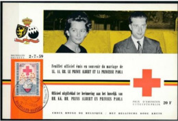 Belgique 1959 Nobel Red Cross Croix Rouge Perforé Sur Carte Spéciale - Nobel Prize Laureates