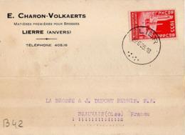 B42 Belgique Lettre De E. Charon-Volkaerts Du 29-06-1935 Avec Flamme, Cachet Poste. Postée à Lierre - Flammes