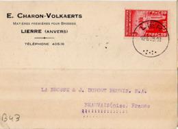 B43 Belgique Lettre De E. Charon-Volkaerts Du 16-06-1935 Avec Flamme, Cachet Poste. Postée à Lierre - Flammes