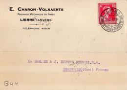 B44 Belgique Lettre De E. Charon-Volkaerts Du 20-03-1937 Avec Flamme, Cachet Poste. Postée à Lierre - Flammes