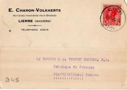 B45 Belgique Lettre De E. Charon-Volkaerts Du 21-09-1935 Avec Flamme, Cachet Poste. Postée à Lierre - Flammes