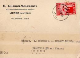B46 Belgique Lettre De E. Charon-Volkaerts Du 21-01-1935 Avec Flamme, Cachet Poste. Postée à Lierre - Flammes