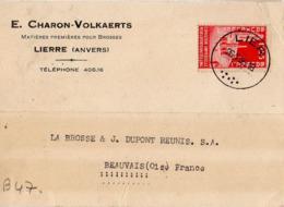 B47 Belgique Lettre De E. Charon-Volkaerts Du 26-01-1935 Avec Flamme, Cachet Poste. Postée à Lierre - Flammes