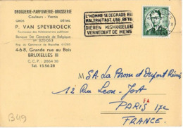 B49 Belgique Lettre De P. Van Speybroeck Du 28-07-1960 Avec Flamme, Cachet Poste. Postée à Bruxelles - Flammes