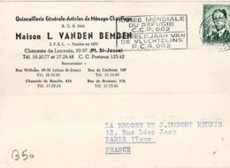 B50 Belgique Lettre De L. Vanden Bemden Du 05-02-1960 Avec Flamme, Cachet Poste. Postée à Bruxelles - Flammes