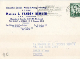 B51 Belgique Lettre De L. Vanden Bemden Du 20-01-1961 Avec Flamme, Cachet Poste. Postée à Bruxelles - Flammes