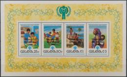 Ghana 1980 IYC AIE  Souvenir Sheet Overprint Papal Visit Pope Jean Paul IIMNH - Enfance & Jeunesse