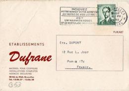 B53 Belgique Lettre De Dufrane Du 10-07-1961 Avec Flamme, Cachet Poste. Postée à Bruxelles Et Destinée à La Brosse - Flammes