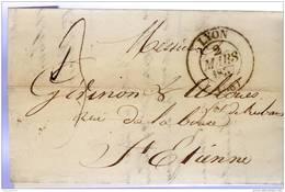 LYON  Rhone Type 13, 1837, 3 Décimes Pour Saint Etienne Loire, Verso St Etienne Type 12 - Poststempel (Briefe)