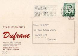 B54 Belgique Lettre De Dufrane Du 14-12-1960 Avec Flamme, Cachet Poste. Postée à Bruxelles Et Destinée à La Brosse - Flammes