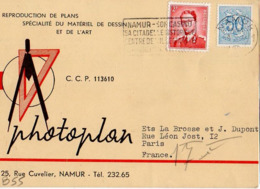 B55 Belgique Lettre De Photoplan Du 03-06-1954 Avec Flamme, Cachet Poste. Postée à Namur Et Destinée à La Brosse - Flammes