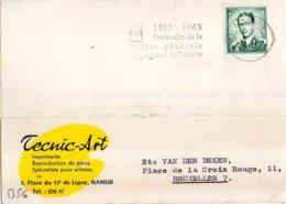 B56 Belgique Lettre De Technic Art Du 13-08-1965 Avec Flamme, Cachet Poste. Postée à Namur Et Destinée à Van Der Beken - Marcophilie