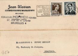B57 Belgique Lettre De Jean Warren Du 25-10-1955 Avec Flamme, Cachet Poste. Postée à Bruxelles Et Destinée à La Brosse - Flammes