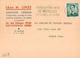 B58 Belgique Lettre De Léon M. Linze Du 27-02-1963 Avec Flamme, Cachet Poste. Postée à Liege Et Destinée à La Brosse - Flammes
