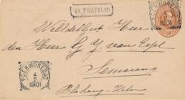 Nederlands Indië - 1901 - 10 Cent Willem III, Envelop G6 Van VK POERWOREDJO - Na Posttijd - Naar Semarang - Nederlands-Indië