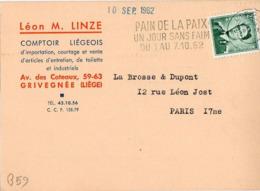 B59 Belgique Lettre De Léon M. Linze Du 08-08-1962 Avec Flamme, Cachet Poste. Postée à Liege Et Destinée à La Brosse - Flammes