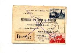 Lettre Recommandée Routot Sur Arbois  + Retour + Inconnu Theme Velo - Cachets Manuels