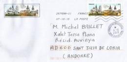 France: DINAN, Côtes D'Armor & DINANT Belgique, Lettre Adressée Andorra, Avec Timbre à Date Arrivée - Emissioni Congiunte