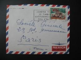Lettre Thème Transport  Autobus Journée Du Timbre 1971 Côte D'Ivoire  Pour La Sté Générale En France Bd Haussmann Paris - Ivory Coast (1960-...)