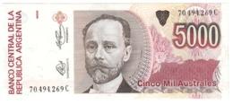 ARGENTINA5000AUSTRALES1989P330UNC.CV. - Argentina