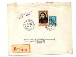 Lettre Recommandée Paris 92 Sur Stendhal Mercure - Postmark Collection (Covers)