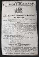 1887 ROYAL MAIL STEAM PACKET COMPANY INDES OCEAN PACIFIQUE ANTILLES COMPAGNIE ROYALES PAQUEBOT POSTE ANGLAIS UK AD PUB - Pubblicitari