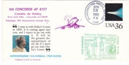 CONCORDE ,,,,VOL CONCORDE A F 4157  COMETE DE HALLEY  1986 ,,,, Enveloppetres Decoree - Concorde