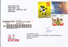 MICKEY MOUSE, ASTRONOMY, TRADITIONAL FESTIVALS STAMPS ON REGISTERED COVER, 2019, PORTUGAL - 1910-... República