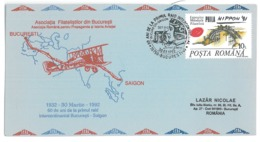 COV 82 - 272 Flight Bucuresti-Saigon, Romania-Vietnam - Cover - Used - 1992 - Avions