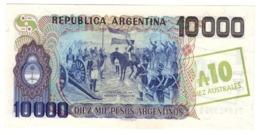ARGENTINA10AUSTRALES1985P322UNCBlue & Olive Overprint 322C.CV. - Argentina