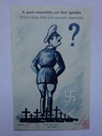 Militaria Carte Postale à Système à Quoi Ressemble Cet être Ignoble Illustrateur Lally Marque Dolly Croix Nazis Hitler - Documentos