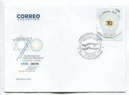 ARGENTINA-ISRAEL, ESTABLECIMIENTO DE RELACIONES DIPLOMÁTICAS 1949-2019 -  ARGENTINA FDC SOBRE DIA DE EMISION -LILHU - Jewish
