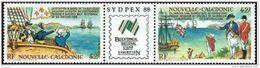 """Nle-Caledonie YT 561A Triptyque """" Rencontre Lapérousse Et Cdt Phillip """" 1988 Neuf** - Nieuw-Caledonië"""