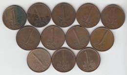 Pays Bas 1 Cent 1948 ; 1950 ; 1951 ; 1952 ; 1954 ; 1960 ; 1961 ; 1962 ; 1963 ; 1964 ; 1965 ; 1974 ;  1c Nederland - 1948-1980 : Juliana