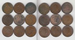 Pays Bas 5 Cent 1948 ; 1952 ; 1964 ; 1971 ; 1974 ; 1975 ; 1977 ; 1978 ; 1979  5c Nederland - 1948-1980 : Juliana