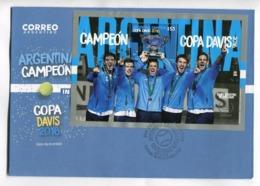 ARGENTINA CAMPEON COPA DAVIS 2016 -  ARGENTINA 2017 FDC SOBRE DIA DE EMISION CON BLOQUE BLOC -LILHU - FDC