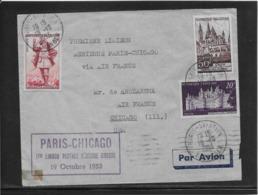 France 1er Vol - Paris-Chicago 19-10-1953 - Poste Aérienne