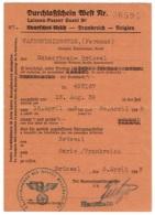 Militaria. WW2. Laissez- Passer Ouest. Bruxelles-Paris. 1943. - Documents